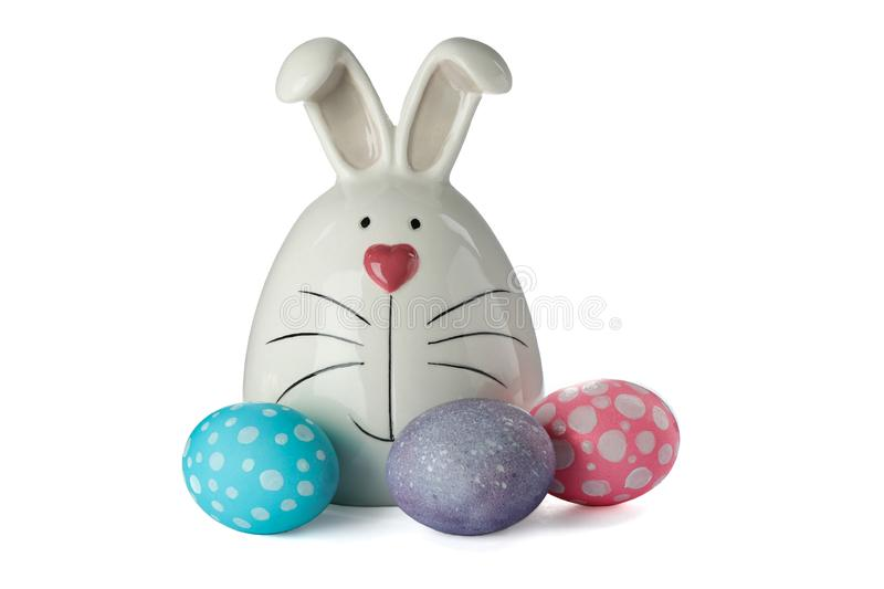 Decorated bunny and Easter eggs isolated on white background royalty free stock image