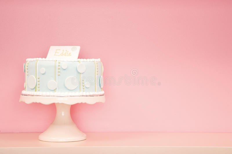 Decorated Cake Against Pink Background stock images