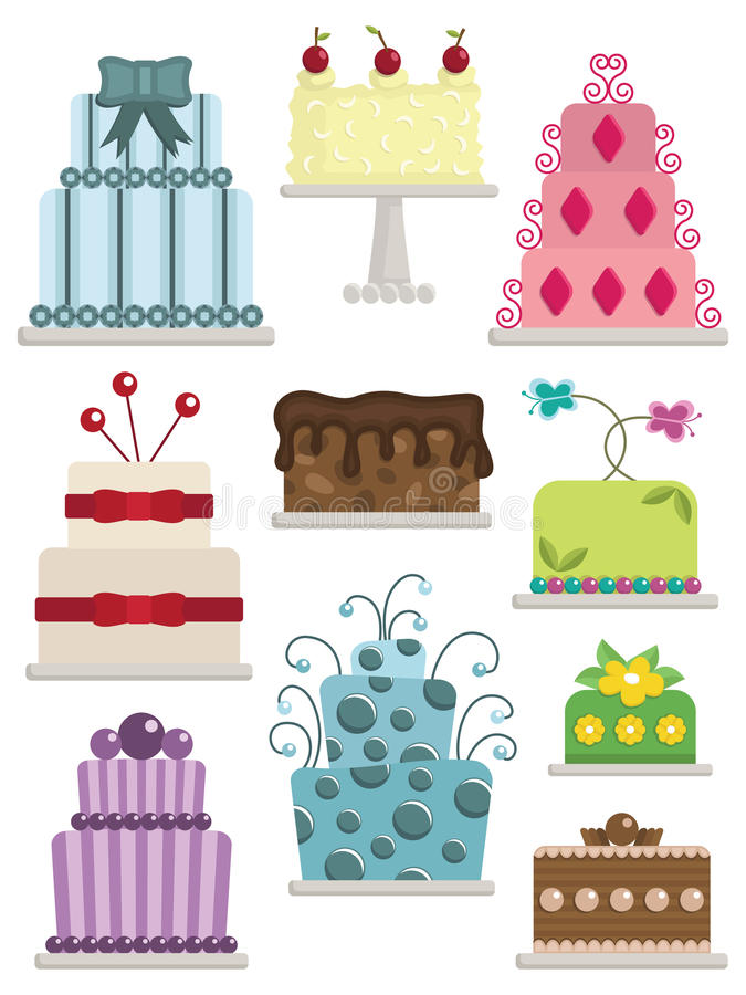 Download Decorated cakes stock vector. Image of stripe, leaf, dessert - 18547640