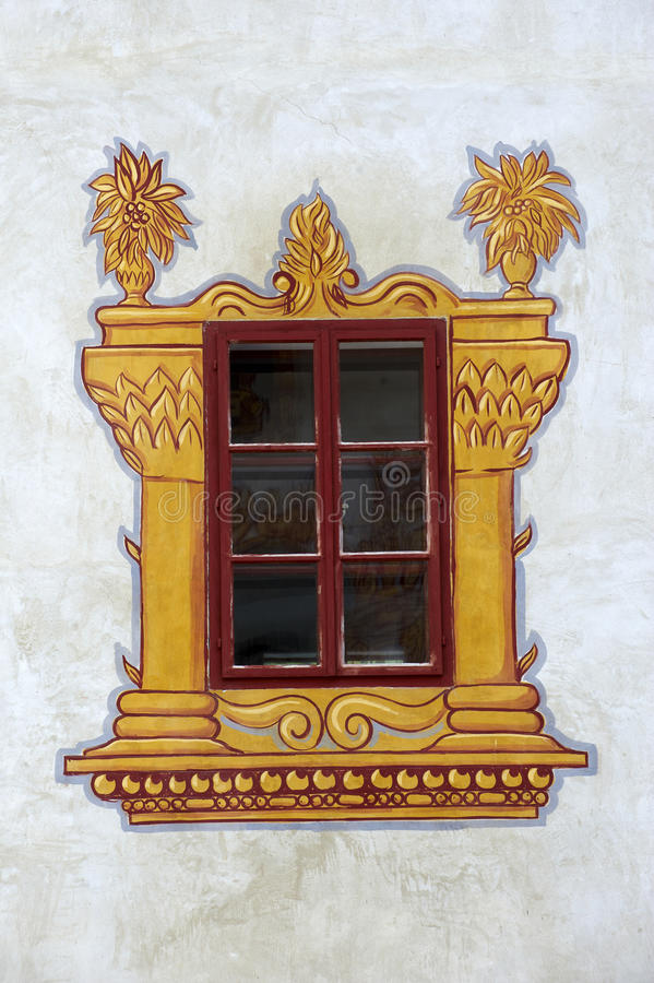 Decorated castle window stock image