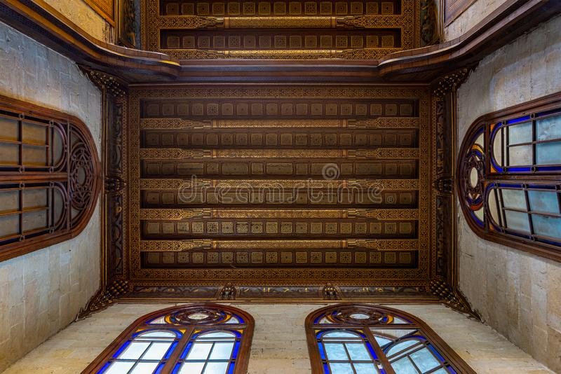Decorated ceiling with floral pattern decorations at Sultan al Ghuri Mausoleum, Cairo, Egypt royalty free stock photography