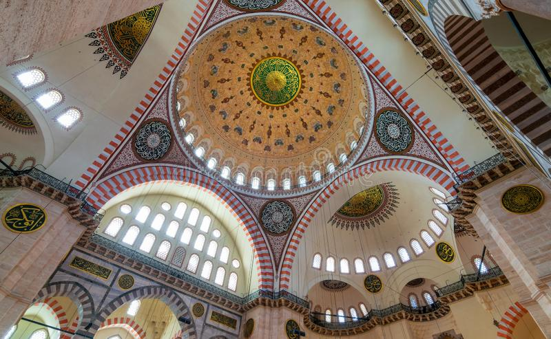 Decorated ceiling at Sultan Ahmed Mosque - Blue Mosque - Istanbul, Turkey. Decorated ceiling at Sultan Ahmed Mosque - Blue Mosque - showing the main big dome stock image