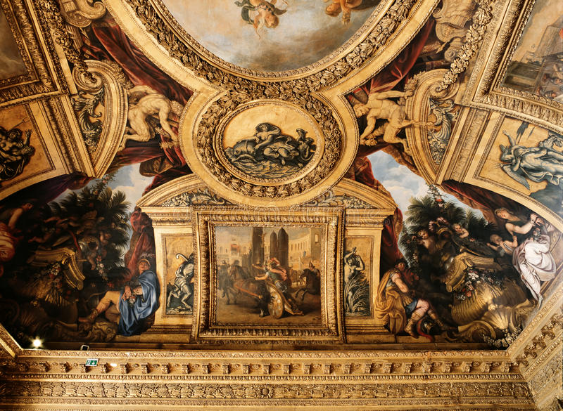 Decorated ceiling at Versailles Palace, France stock photos