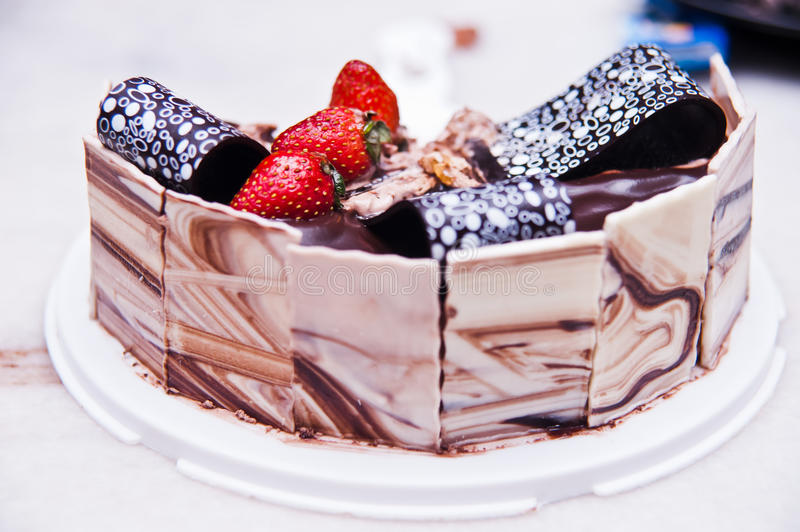Decorated Chocolate And Cheese Cake Royalty Free Stock Photos