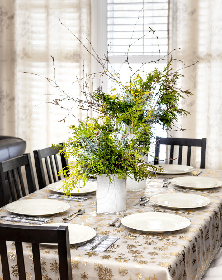Decorated Christmas dining table royalty free stock photo