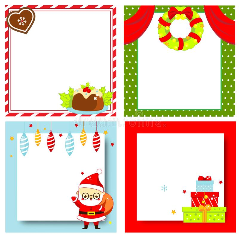Decorated Christmas frames. New Year blank backgrounds set royalty free illustration