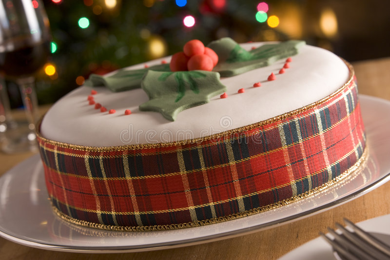Decorated Christmas Fruit Cake royalty free stock photos