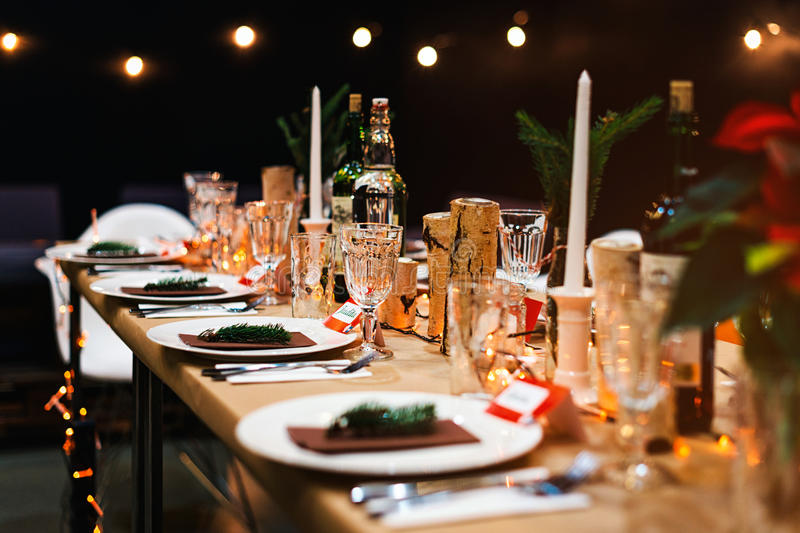 Download Decorated Christmas Holiday Table Ready For Dinner Stock Photo - Image of backgrounds objects & Decorated Christmas Holiday Table Ready For Dinner Stock Photo ...