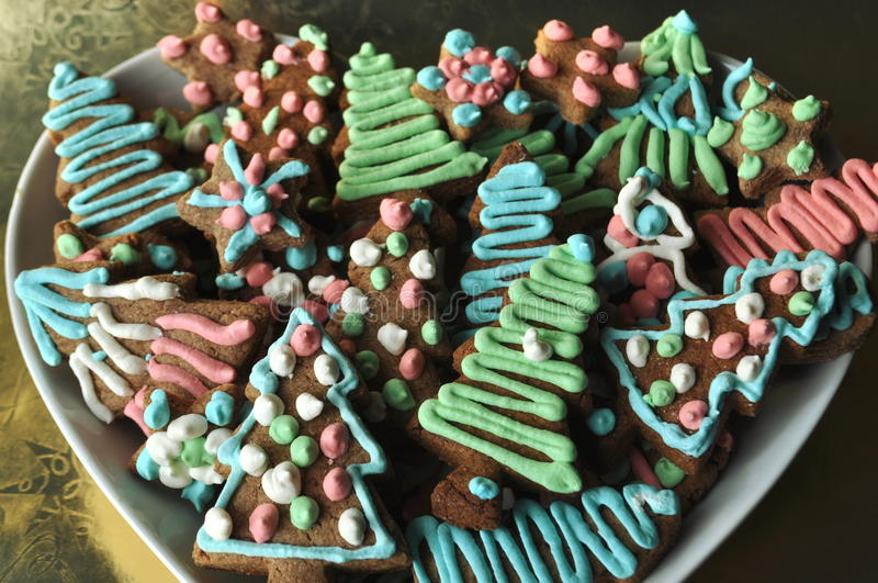 Download Decorated Christmas Honey Cookies On Winter Background With Snowflakes Stock Image - Image: 83724207
