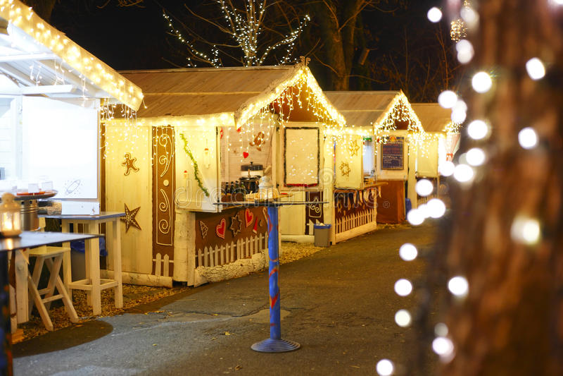 Decorated Christmas market stock image