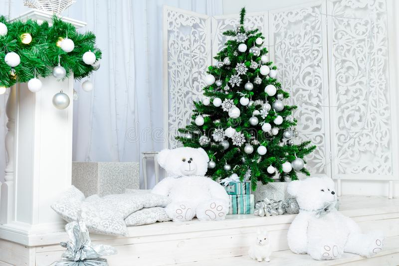 Decorated Christmas room beautiful fir tree royalty free stock photography