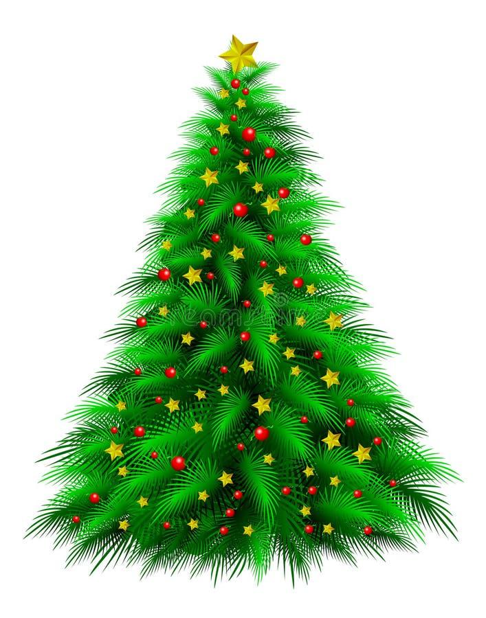 Decorated Christmas tree. Illustration of decorative Christmas tree isolated on white background royalty free illustration