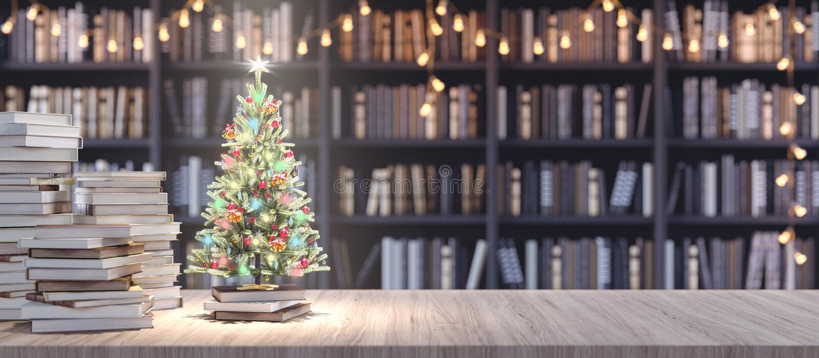 Decorated Christmas tree on Bookshelf in the library with old books, Holidays in Bookstore concept 3d render. 3d illustration vector illustration