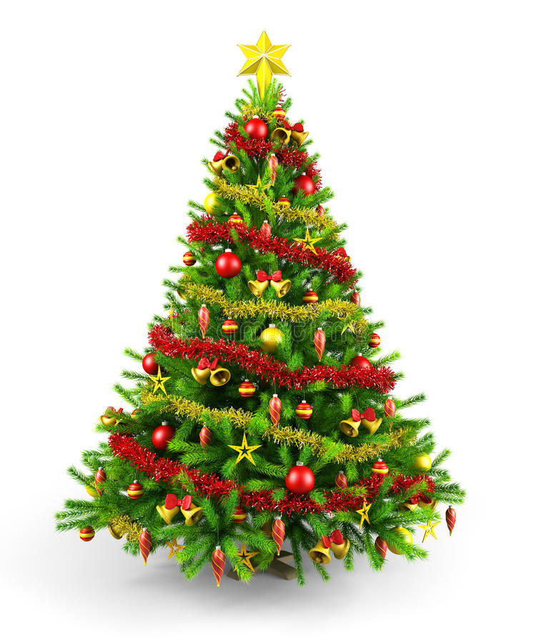 Decorated Christmas tree royalty free illustration