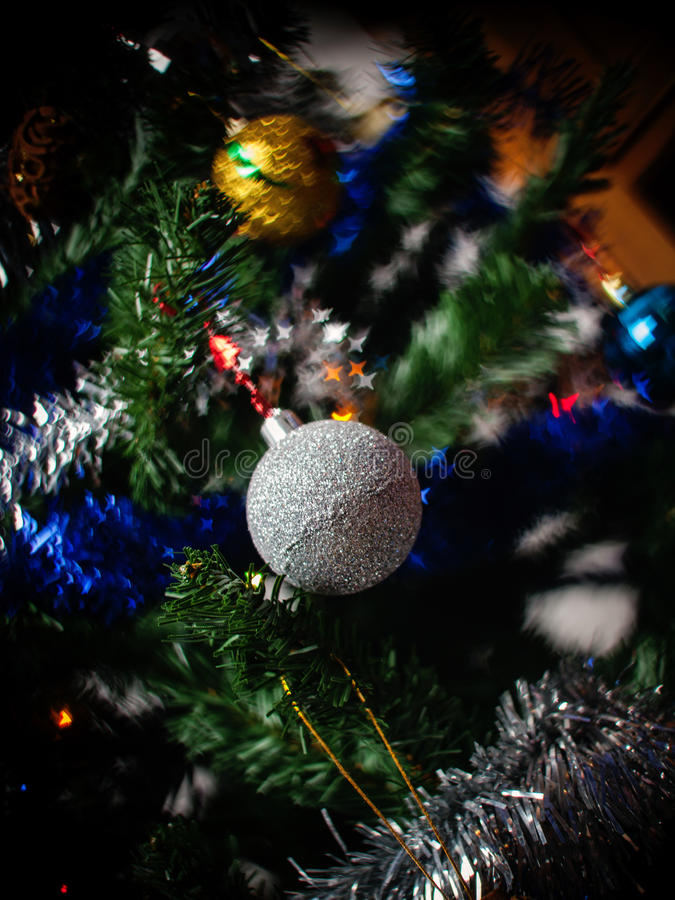 Decorated Christmas Tree detail stock photo