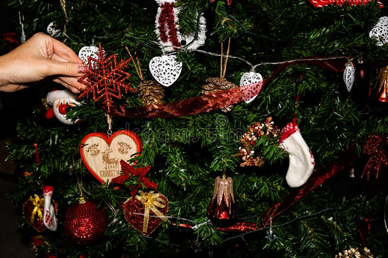 Decorated Christmas tree,  Fir braches  with hanging decorations and garlands. Christmas concept, hand putting decorations on fir. Tree stock photos