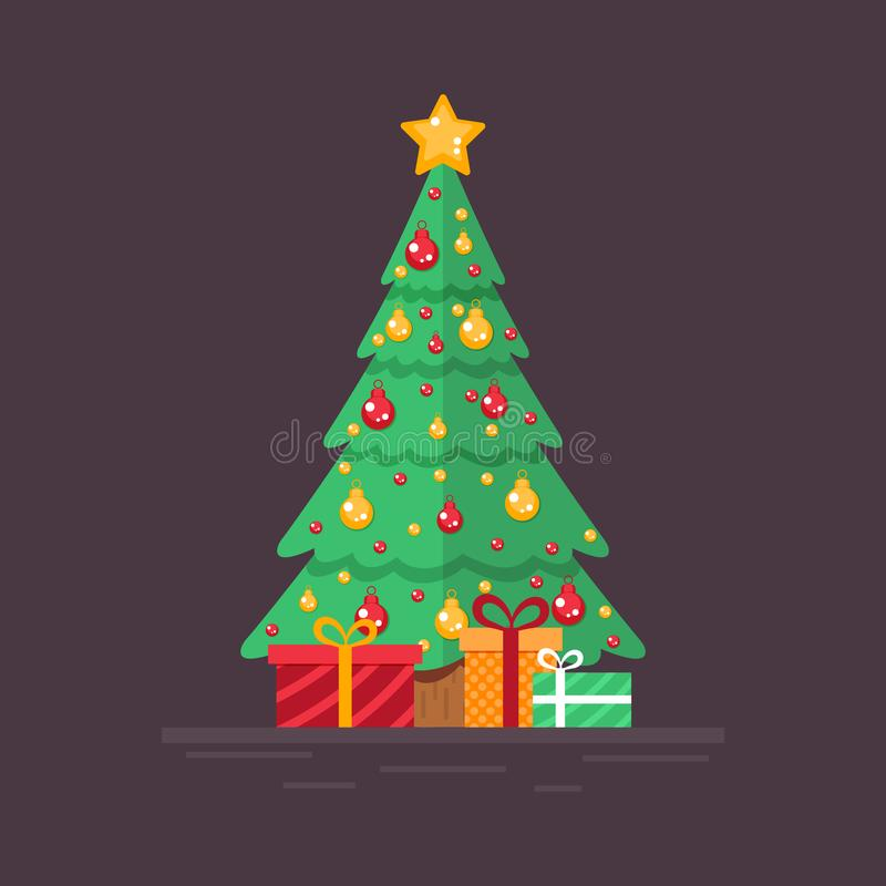 Decorated Christmas tree with gifts. Design for decoration poster, postcard. Flat vector. stock illustration