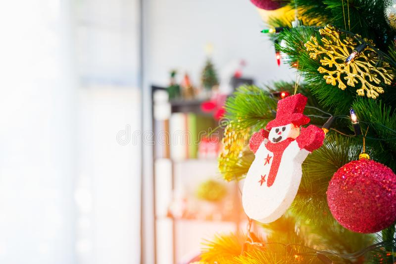 Decorated Christmas tree with hanging of red ball, Snow doll. Gift for lover royalty free stock photos