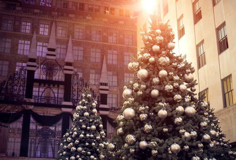 Decorated Christmas tree lighting in the city stock image