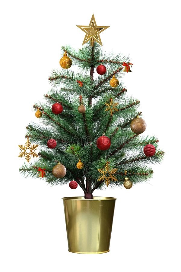 Decorated christmas tree with red and golden ball in the golden pot isolated on white background. Decorated christmas tree with red and golden ball in the pot vector illustration