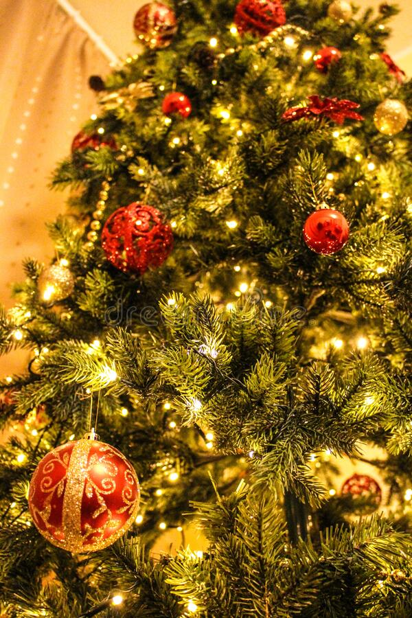 Decorated Christmas tree stock photography