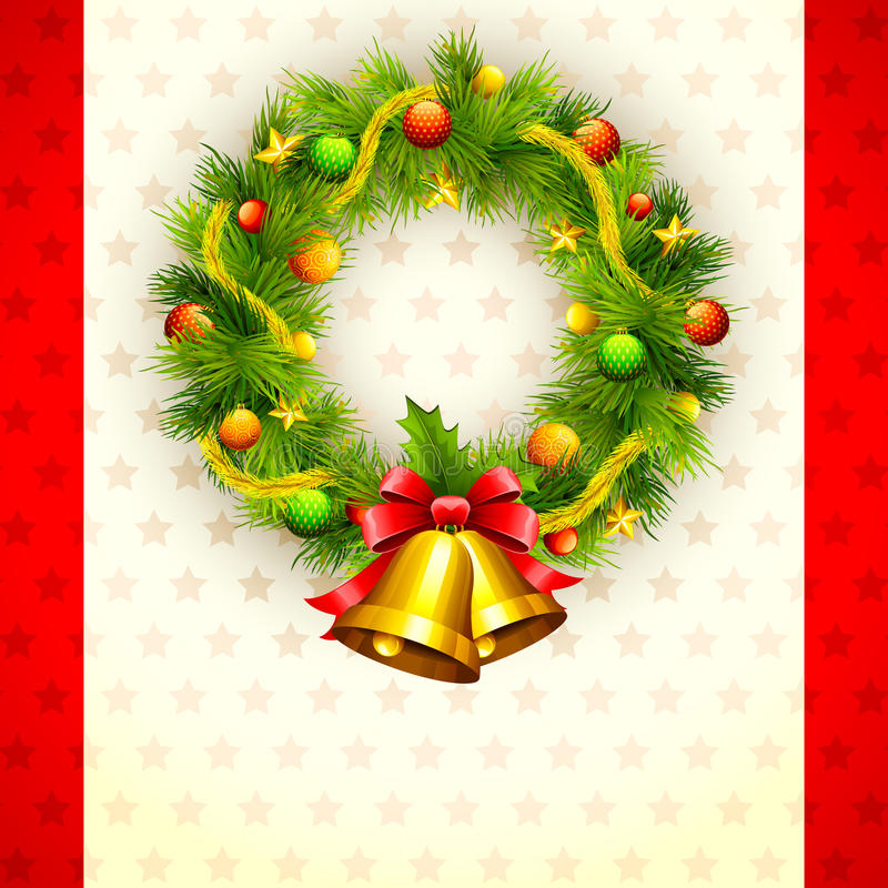 Download Decorated Christmas Wreath stock vector. Image of cone - 26469784