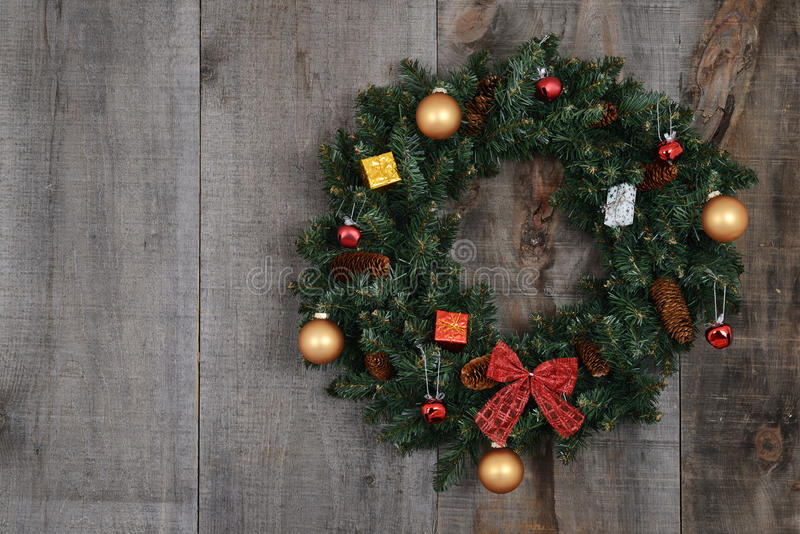 Download Decorated Christmas Wreath On Barn Board Stock Photo - Image: 26525116