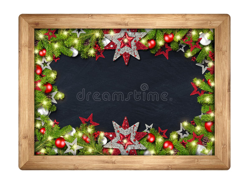 Decorated christmas xmas blackboard with fir branches royalty free stock image