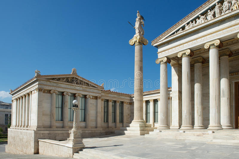 Decorated classical building of Athens University stock images