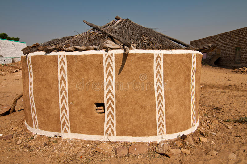 Decorated clay hut royalty free stock image