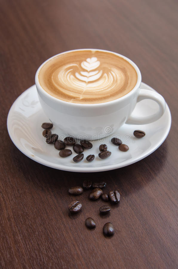 Decorated coffee art latte royalty free stock images