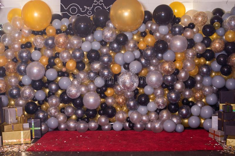 Decorated with colorful balloons decoration for photography. Photozone. royalty free stock photos