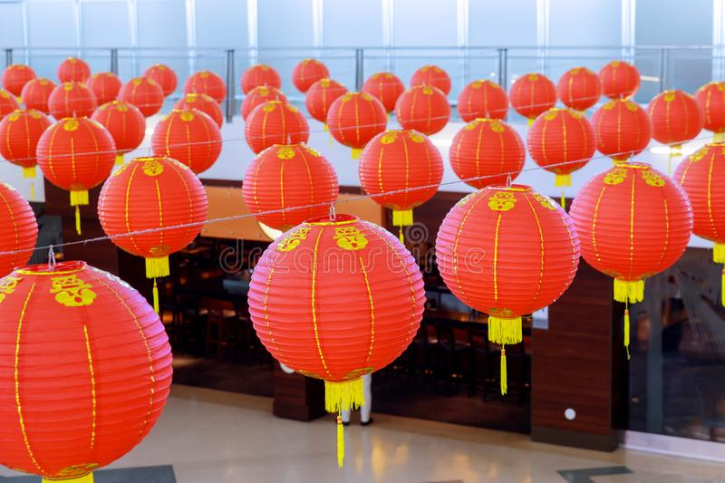 Colorful red Chinese lanterns shine for New Year for decorated royalty free stock image