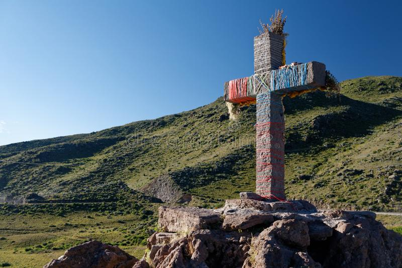 Decorated cross in Colca canyon royalty free stock photography