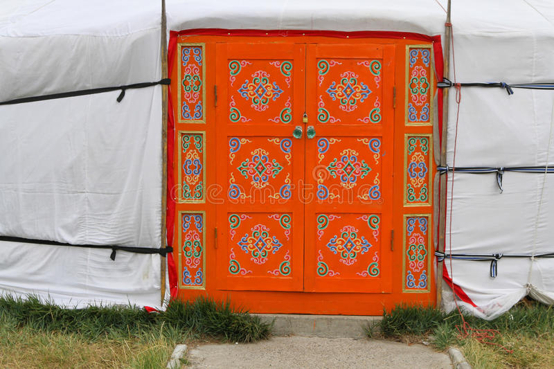 Decorated door of a Mongolian Yurt royalty free stock photography