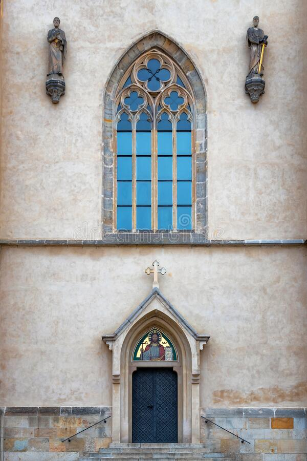 Decorated the door and window of the cathedral stock images