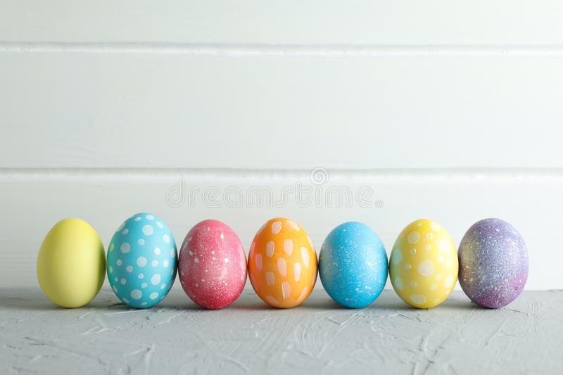 Decorated Easter eggs on color background, closeup royalty free stock image
