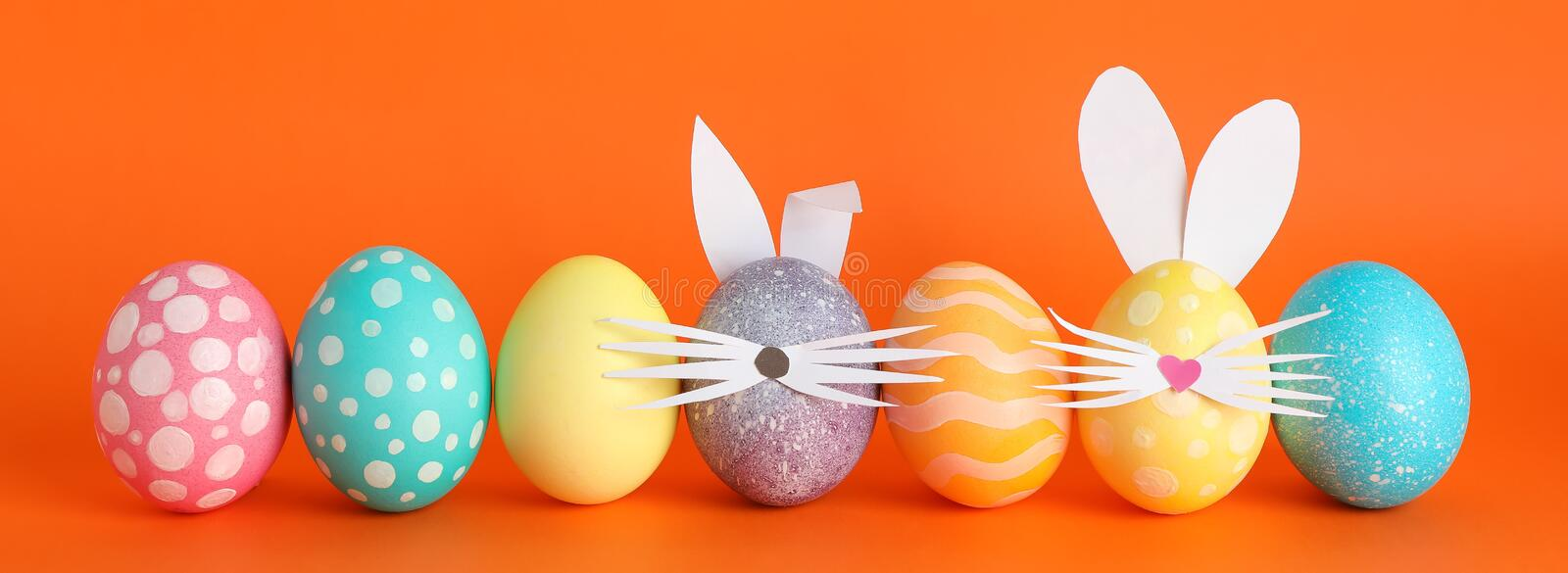 Decorated Easter eggs and cute bunny`s ears royalty free stock image