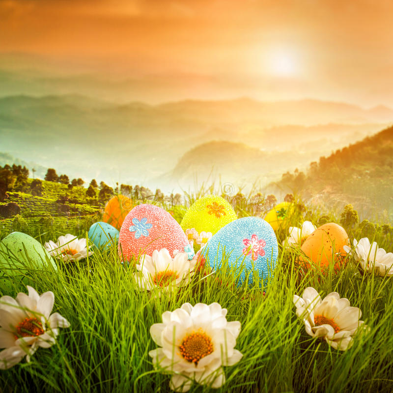 Decorated easter eggs. In the grass on the background of sky