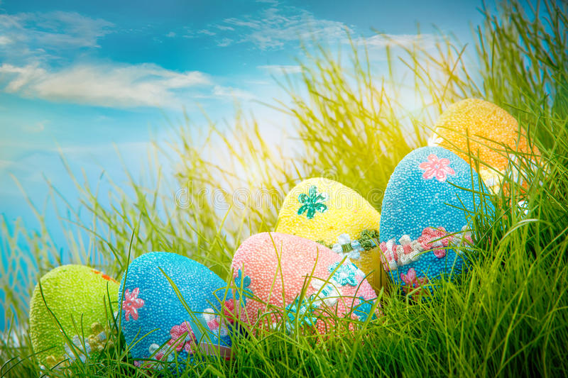 Decorated easter eggs royalty free stock photo
