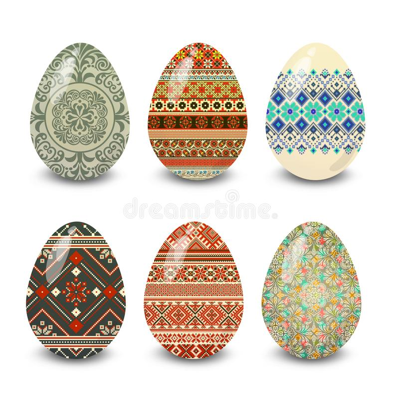 Decorated easter eggs illustration ornament. Easter eggs. Illustration isolated with background easter eggs with ornament, element for design,  illustration vector illustration
