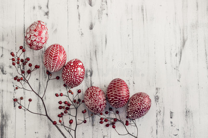 Decorated Easter eggs Pysanka on whitewashed wooden background royalty free stock image