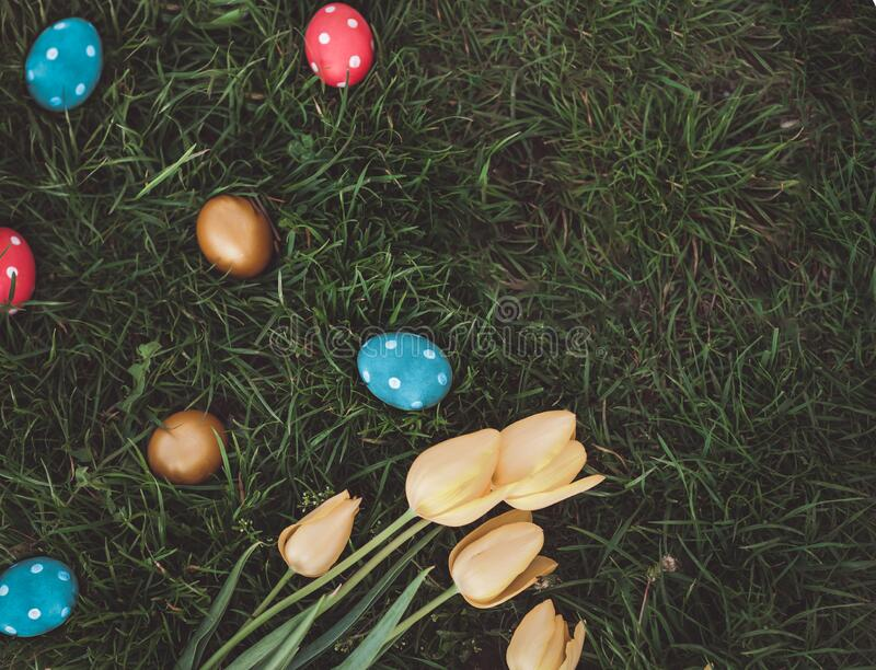 Festive hand painted dotted eggs royalty free stock photography