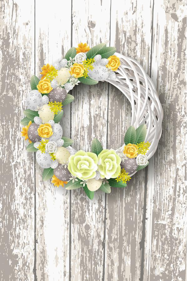 Free Decorated Elegant Easter Wreath With Eggs Flowers And Leafs - On Rustic Wooden Background Royalty Free Stock Photography - 138769607