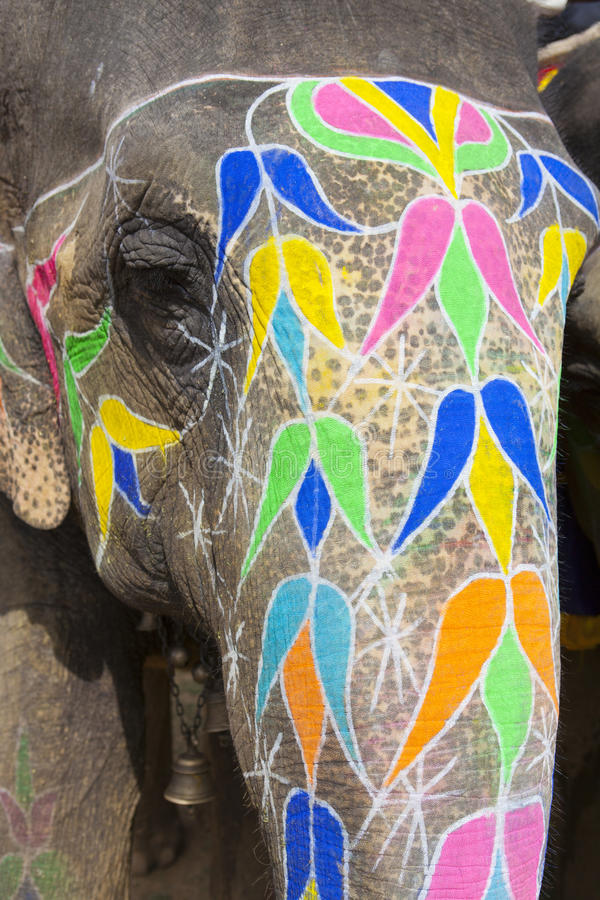 Download The decorated elephant. stock image. Image of event, design - 26454717