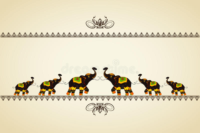 Decorated Elephant showing Indian culture vector illustration
