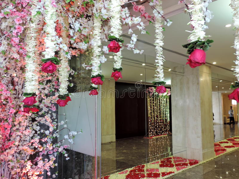 Decorated entrance for Hindu wedding, India. Decorated entrance with flowers for a Hindu wedding in India. The wedding ceremonies in India are very colourful and royalty free stock image