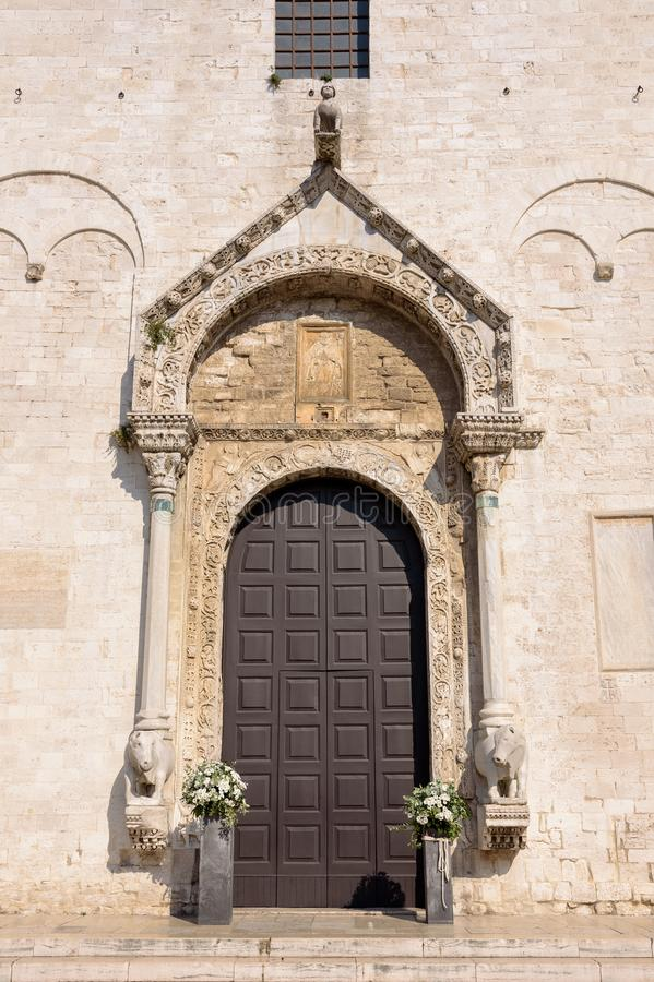 Decorated entrance to the Basilica of Saint Nicholas in Bari stock photo