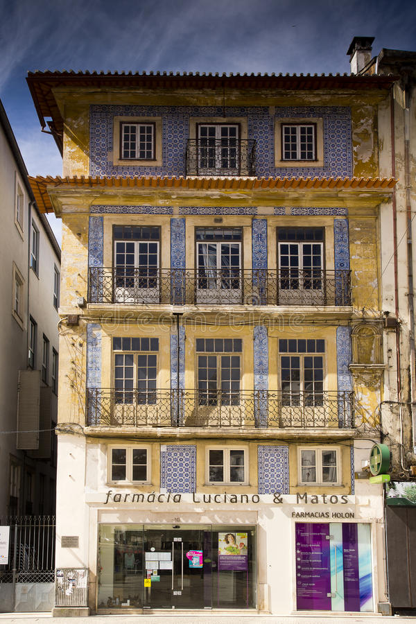 Decorated facade Coimbra Portugal stock photography