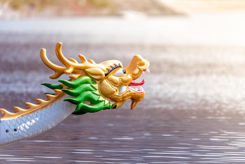 Decorated figurehead of dragon boat royalty free stock photo